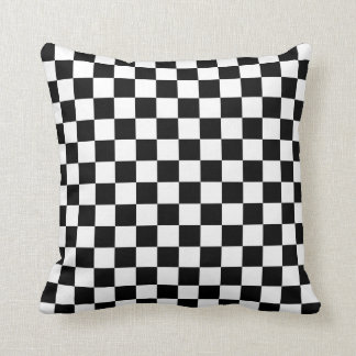 Chequered: Black and White Throw Pillow