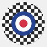 Chequered Black Racing Target Mod Round Sticker