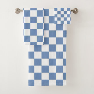 Chequered Blue/Grey and White Bath Towel Set