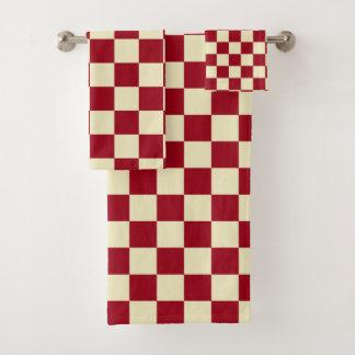 Chequered Burgundy and Cream Bath Towel Set