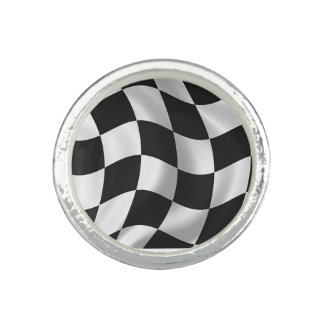 Chequered Flag design matching jewelry set Rings