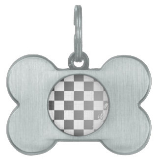 Chequered Flag Grunge Pet ID Tag