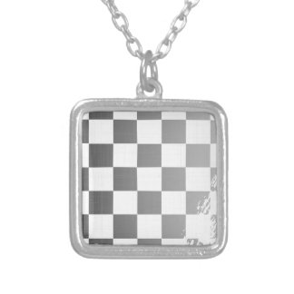 Chequered Flag Grunge Silver Plated Necklace