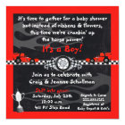 Chequered Flag Race Car Baby Shower Invitations