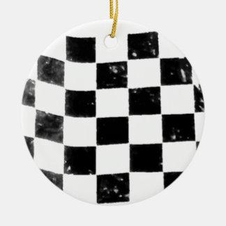 Chequered Flag Round Ceramic Ornament