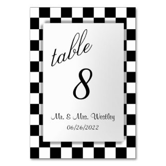 Chequered Flag Table Number