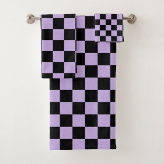 Chequered Lavender and Black Bath Towel Set