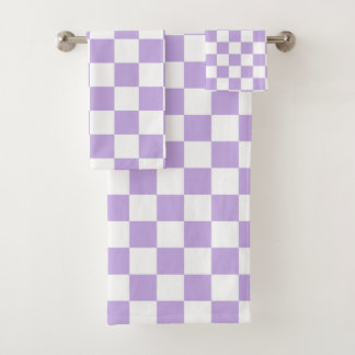 Chequered Lavender and White Bath Towel Set