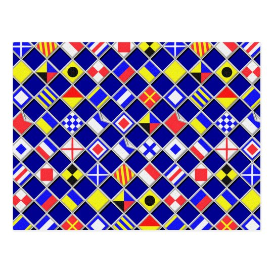 Chequered Nautical Signal Flags Decor Postcard