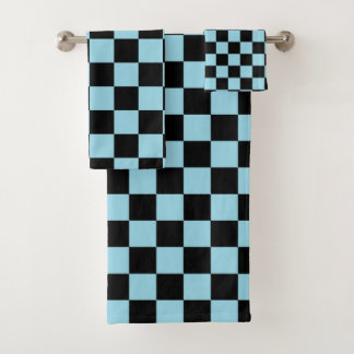Chequered Pastel Blue and Black Bath Towel Set