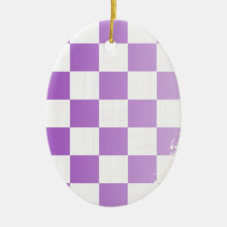 Chequered Purple Grunge Ceramic Ornament