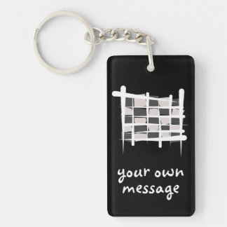 Chequered Racing Brush Flag Double-Sided Rectangular Acrylic Keychain