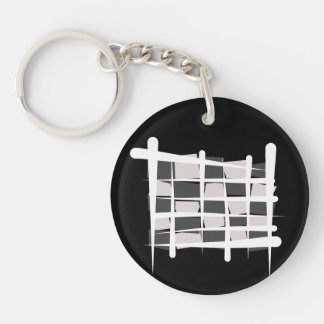 Chequered Racing Brush Flag Double-Sided Round Acrylic Keychain