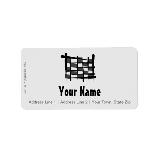 Chequered Racing Brush Flag Label
