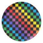 Chequered Rainbow Black Plate