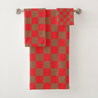 Chequered Red and Brown Bath Towel Set