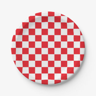 Chequered Red and White Paper Plate