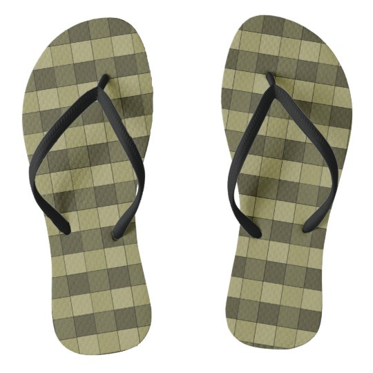 Chequered Shades of Khaki Squares Pattern Flip Flops