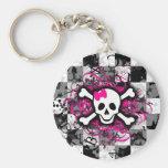 Chequered Skull With Hot Pink Splatter Basic Round Button Keychain