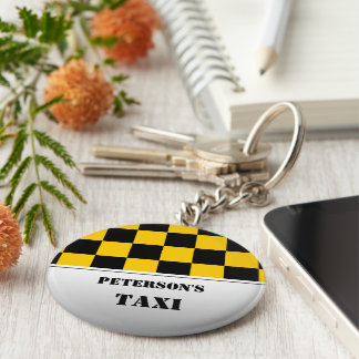 Chequered taxi monogram basic round button keychain