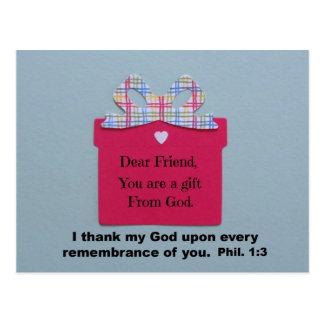 Cher ami, vous êtes un cadeau de Dieu Carte Postale