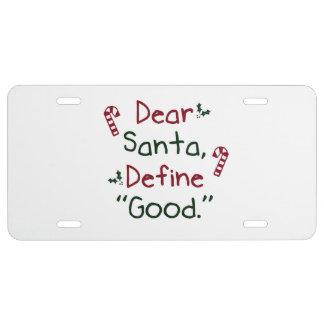 Cher Père Noël définissent bon Plaque D'immatriculation