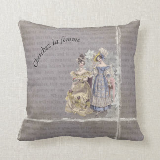 Cherchez La Femme Vintage Art Throw Pillow