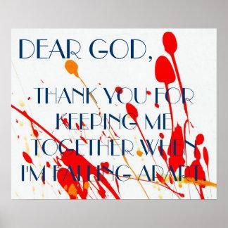 Chère affiche de prière de Dieu