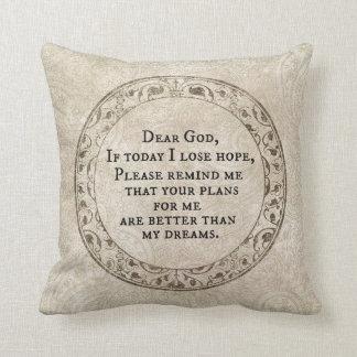 Chère citation inspirée de prière de Dieu Coussin