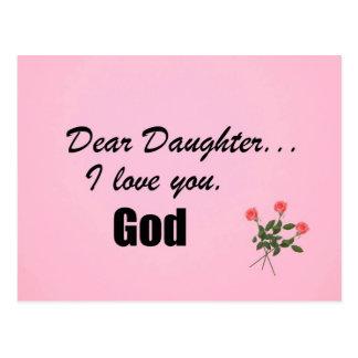 Chère fille, je t'aime. Dieu Carte Postale