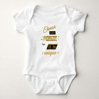 Cherish each moment for it is unique -gold & black baby bodysuit