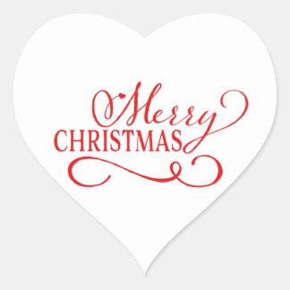Cherish the Season Red / White Christmas Seal Heart Sticker