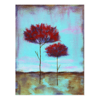 Cherished, Abstract Art Landscape Red Trees Postcard