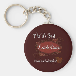 Cherished Little Sister Basic Round Button Keychain