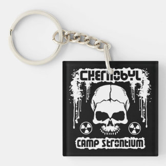 Chernobyl Camp Strontium Radiation Skull Double-Sided Square Acrylic Keychain