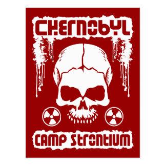 "Chernobyl ""Camp Strontium"" Skull Postcard [Red]"