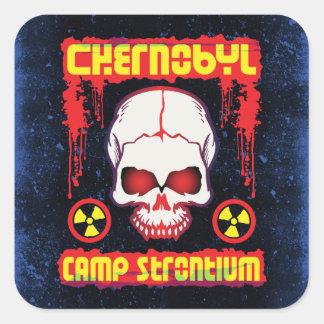 Chernobyl Strontium Radiation Skull Square Sticker