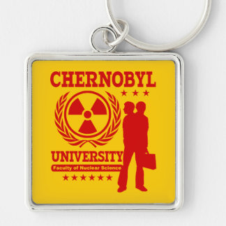 Chernobyl University Nuclear Science Geek Humor Silver-Colored Square Keychain