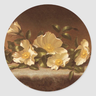 Cheroke Roses on light grey cloth Classic Round Sticker