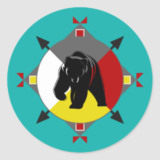 Cherokee Bear Four Directions Round Sticker