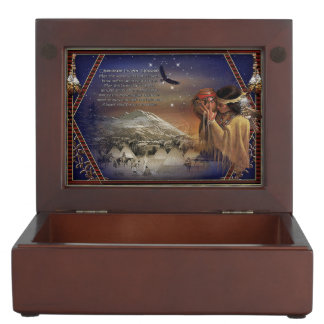 Cherokee Blessing Native American Wood Trinket Box
