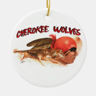 Cherokee Wolves Ceramic Ornament