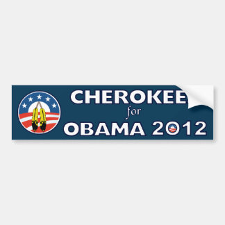 Cherokees For Obama With Feathers Bumper Sticker