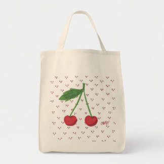 Cherries 2 grocery tote bag