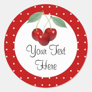 Cherries And Poka Dots Custom Product Sticker