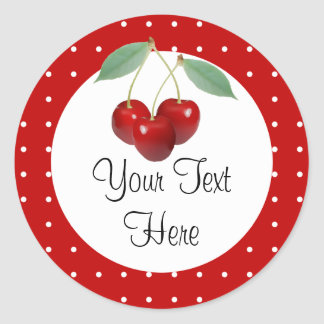 Cherries And Polka Dots Custom Product Sticker