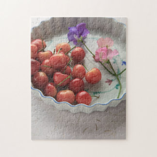 Cherries and sweet peas in pie plate puzzles