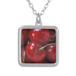 Cherries cherry fruit food snacks square pendant necklace