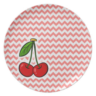 Cherries; Coral Chevron Pattern Party Plate
