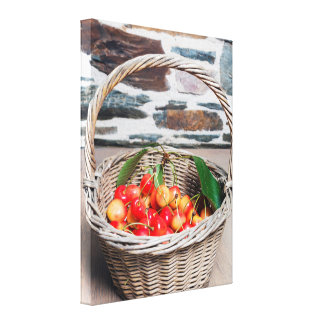 Cherries in a Basket Wrapped Canvas